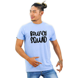 HEYUZE Cotton Half Sleeve Male Men Round Neck Printed Blue T Shirt with Brunch Squad Quote