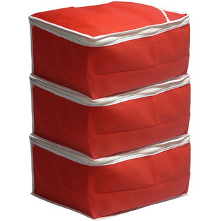 PrettyKrafts Saree Cover Set of 3 Large/Wardrobe Organiser/Clothes BagRed
