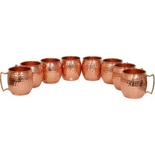 Pure Copper Hammered Beer Mug - Set of 8