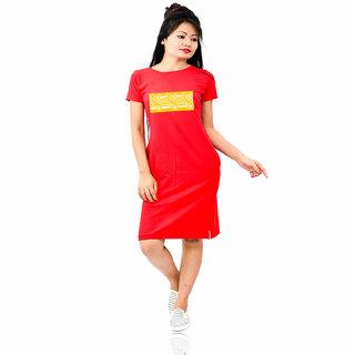 HEYUZE 100% Cotton Printed Half Sleeve Girl Women Red T-Shirt Dress with Japi Assamese Design
