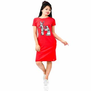 HEYUZE 100% Cotton Printed Half Sleeve Girl Women Red T-Shirt Dress with Bihu Assamese Design