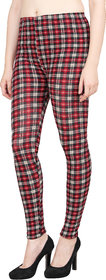 Aiyra Women's Red Printed stretchable Jegging