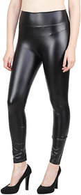 Aiyra Women's Black Faux Leather Jagging