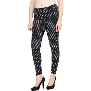 Aiyra Women's Black Printed stretchable Jegging