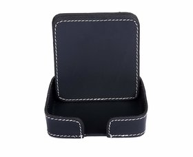 Drink Coasters Set of 6 with Holder, Green Non-Slip Square Leather Coasters for Table Protection