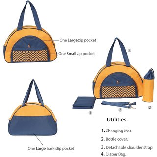 Pretty Krafts Keepall Zigzag Baby Diaper Bag Orange