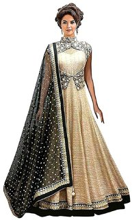 Florence Women's Beige Bangalore silk Embroidered Gown