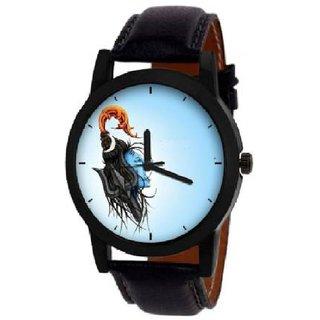 104 Light Blue Dial Uniq Mahadev Watch Strap Black Watch - For Men