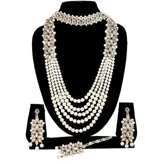 410cf750c06dc BJ Wedding wear Party Wear Designer Stylish Pearl Necklace Set with Choker  Set,Earrings with Maang Tikka (WHITE)