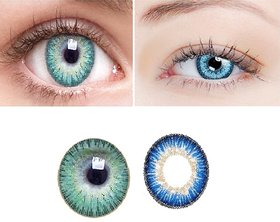 TruOm Blue  Turqoise Colour Monthly(Zero Power) Contact Lens
