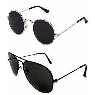 DEBONAIR UV Protection Round, Aviator Sunglasses (Black)