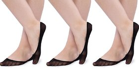 N2S NEXT2SKIN - Women's Sheer Cotton Hidden Loafer Socks, Ladies Invisible No Show Liners - Pack of 3 Pairs - Black