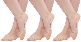 N2S NEXT2SKIN - Women's Sheer Cotton Hidden Loafer Socks, Ladies Invisible No Show Liners - Pack of 3 Pairs- Skin