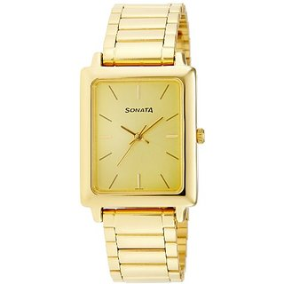 Sonata Analog Gold Dial Mens Watch - NF7078YM02