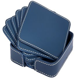 Drink Coasters Set of 6 with Holder, Non-Slip Round Leather Coasters for Table Protection