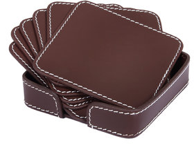 Drink Coasters Set of 6 with Holder, Brown Non-Slip Square Leather Coasters for Table Protection