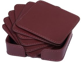 Drink Coasters Set of 6 with Holder, Burgundy Non-Slip Square Leather Coasters for Table Protection