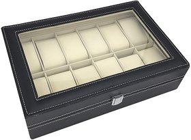House of Quirk Watch Box 12 Slot for Pu Leather Design Display Case, Large Holder, Metal Lock Watch Box