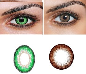 TruOm Brown  Green Colour Monthly(Zero Power) Contact Lens