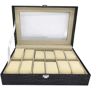 House of Quirk Watch Box 12 Slot For Pu Leather Design Display Case Large Holder Metal Lock -Black Watch Box