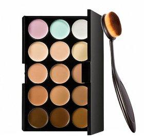 Miss Rose 15 Colors Contour Face Cream Makeup Concealer Palette + Foundation  Makeup Brush