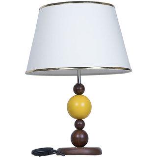 Fos Lighting Yellow Ball Wood Table Lamp with Cream Shade