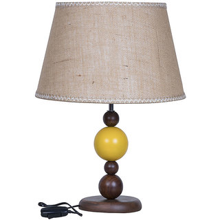 Fos Lighting Yellow Ball Wood Table Lamp with Jute Lace Shade