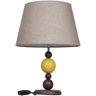 Fos Lighting Yellow Ball Wood Table Lamp with Jute Shade