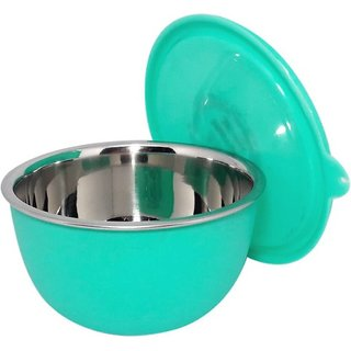 Microwave Safe Stainless Steel Plastic Coated GREEN Bowl(Set of 1)-13 cm Each