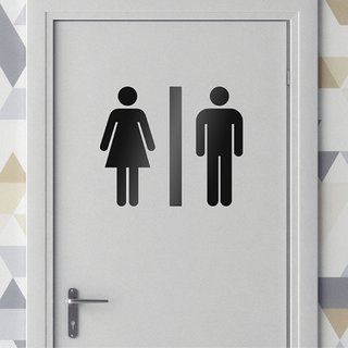 Asmi Collections Self Adhesive Toilet Restroom Sign Stickers Black