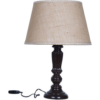 Fos Lighting Brown Distressed Country Table Lamp with Jute Lace Shade