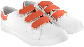 Blinder Mens White Orange Velcro casual Sneakers Shoes