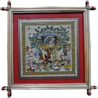 Village Kraft Tribal Life Activities on Pattachitra Palm Leaf Painting 22.86 x 22.86 cm