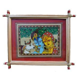Village Kraft Radha Krishna Palm Leaf Painting 25.4 x 20.32 cm