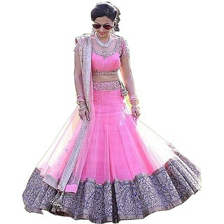 Florence Pink Silk Embroidered Semi Stitched Lehenga Choli