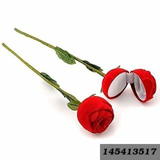 Velvet Red Rose Jewellery Ring Box (Gift, Engagement) Without Ring-2 PC