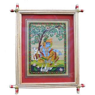 Village Kraft Lord Krishna Palm Leaf Painting 20.32 x 25.4 cm