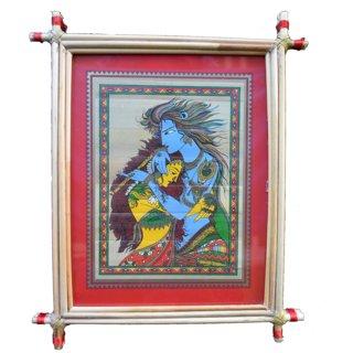 Village Kraft Radha Krishna Palm Leaf Painting 20.32 x 25.4 cm