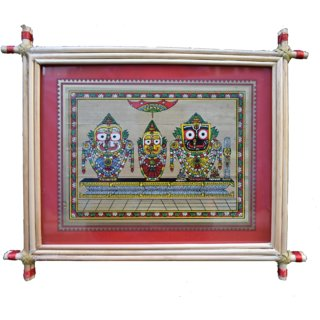 Village Kraft Lord Jagannath Balabhadra and Subhadra Palm Leaf Painting 25.4 x 20.32 cm