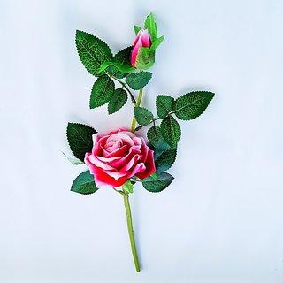 S N ENTERPRISES SNE5080 DARK PINK ROSE ARTIFICIAL FLOWER STICK