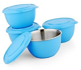 Microwave Safe Stainless Steel Plastic Coated BLUE Bowl Set of 4  13 cm Each