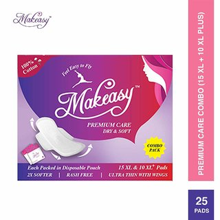 Makeasy Premium Care 100 Cottony Feel Sanitary Pads with Disposable Pouch Pack of 25 Pads (15 XL 10 XL+)