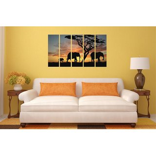 Asmi Collections Beautiful Elephants in A Jungle Wall Paintings Stickers