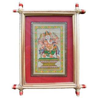 Village Kraft Lord Ganesha Palm Leaf Painting 15.24 x 20.32 cm