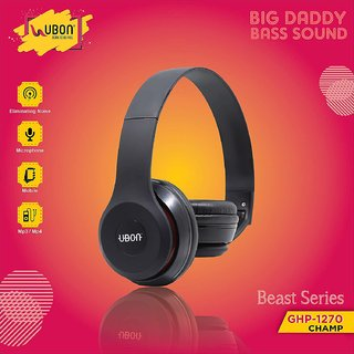 UBON GHP-1270 Champ on Ear Headphone with Bass and Mic (Black) Standard Quality