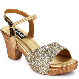 Sapatos Women Gold Ankle Strap Block Heel