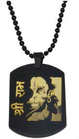 Men Style Shree Ram Hanuman Locket Black Gold Stainless Steel Necklace Pendant