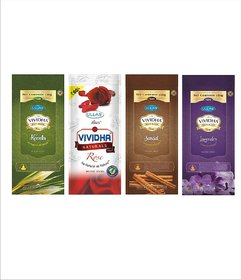 VIVIDHA 150 gm Mix Fragrance Zipper Pouches, Set of 4, Lavender, Sandal, Kewda  Rose fragrance