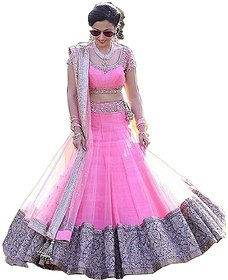 Florence Women's Pink Embroidered Semi Stitched Silk Lehenga Choli