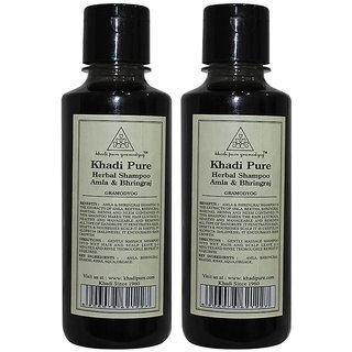Khadi Pure Herbal Amla  Bhringraj Shampoo - 210ml (Set of 2)